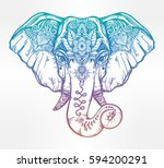 vintage style vector elephant... | Shutterstock .eps vector #594200291