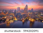 sunrise scenery of bangkok city ... | Shutterstock . vector #594202091