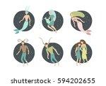 zodiac signs. vector... | Shutterstock .eps vector #594202655