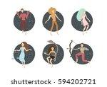 zodiac signs. vector... | Shutterstock .eps vector #594202721
