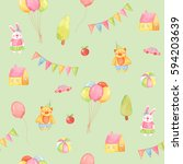 watercolor seamless pattern on... | Shutterstock . vector #594203639