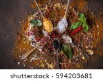 variety of salt and spices in... | Shutterstock . vector #594203681