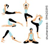 yoga poses | Shutterstock .eps vector #59420395