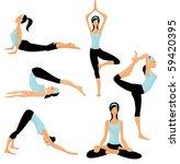 yoga poses | Shutterstock .eps vector #59420395