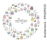 hand drawn doodle easter icons... | Shutterstock .eps vector #594209225