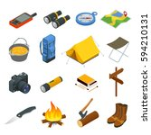 hiking icons set. camping... | Shutterstock .eps vector #594210131