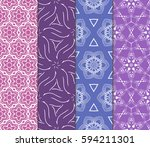 set of modern floral pattern of ... | Shutterstock .eps vector #594211301