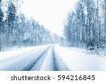 snow covered open road during a ... | Shutterstock . vector #594216845