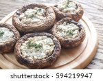 baked mushrooms stuffed with... | Shutterstock . vector #594219947