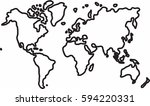 freehand world map sketch on...   Shutterstock .eps vector #594220331