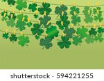 green festive bunting with...   Shutterstock .eps vector #594221255