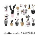 flowers  houseplants and... | Shutterstock .eps vector #594222341