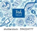 vintage seafood frame vector... | Shutterstock .eps vector #594224777