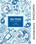 vintage seafood frame vector... | Shutterstock .eps vector #594224954