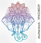 vintage style vector elephant... | Shutterstock .eps vector #594228029