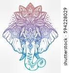 vintage style vector elephant... | Shutterstock .eps vector #594228029