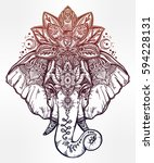 vintage style vector elephant... | Shutterstock .eps vector #594228131
