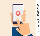 cross mark on smart phone... | Shutterstock .eps vector #594235385