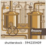 vector banner with the brewery  ... | Shutterstock .eps vector #594235409