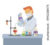 young male chemist measuring... | Shutterstock .eps vector #594238475