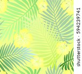 seamless colorful tropical... | Shutterstock . vector #594239741