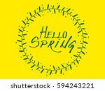 spring wreath with hello spring ... | Shutterstock .eps vector #594243221
