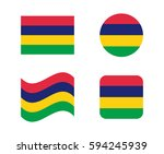 set 4 flags of mauritius | Shutterstock .eps vector #594245939