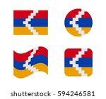 set 4 flags of nagorno kara | Shutterstock .eps vector #594246581