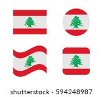set 4 flags of lebanon | Shutterstock .eps vector #594248987