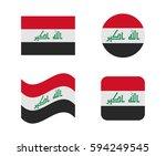 set 4 flags of iraq | Shutterstock .eps vector #594249545