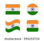 set 4 flags of india | Shutterstock .eps vector #594253724