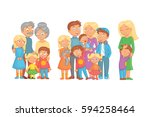 big happy cheerful family... | Shutterstock .eps vector #594258464