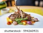 lamb steak on the dish | Shutterstock . vector #594260921