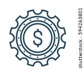 coin inside gear vector icon in ... | Shutterstock .eps vector #594263801