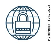 lock inside globe vector icon... | Shutterstock .eps vector #594263825