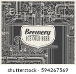 vector banner with the brewery  ... | Shutterstock .eps vector #594267569