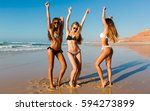 three beautiful girls having... | Shutterstock . vector #594273899