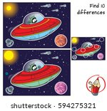 red ufo with green alien. find... | Shutterstock .eps vector #594275321