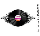 black vinyl record music on... | Shutterstock .eps vector #594283271