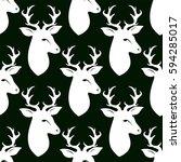 deer head with horns. seamless...   Shutterstock .eps vector #594285017