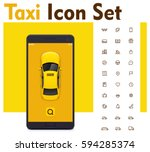vector taxi mobile app icon set....