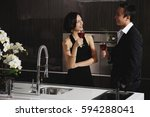 a couple have a glass of red...   Shutterstock . vector #594288041