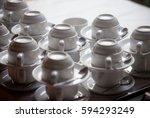 lots of tea cups   catering on... | Shutterstock . vector #594293249