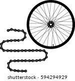 bicycle wheel and chain vector... | Shutterstock .eps vector #594294929