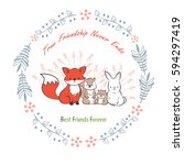 doodle set of best friends... | Shutterstock .eps vector #594297419