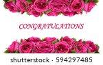 roses flowers festive border... | Shutterstock .eps vector #594297485