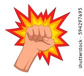 fire fist icon. cartoon... | Shutterstock . vector #594297695