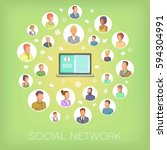 social network concept notebook ... | Shutterstock . vector #594304991