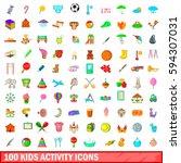 100 kids activity icons set in... | Shutterstock . vector #594307031