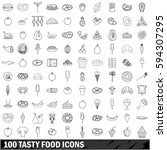 100 tasty food icons set in... | Shutterstock . vector #594307295